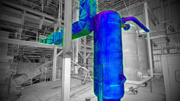 HVAC and MEP systems are critical in large facility design and renovations. Having a 3D intelligent model provides our clients with more accurate visualization of the facility compared to traditional 2D drawings. Shown here is a highlighted HVAC system during the planning phase of a major renovation to the plant. Knowing where these systems are geometrically throughout a facility provides design validation before any actual construction begins.