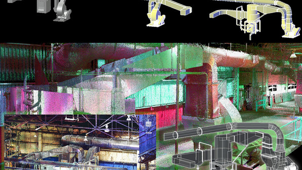 Laser scanning allows you to view locations digitally in order to plan renovations of MEP and HVAC systems.  Shown here is an example of how a 3D model can be injected directly into the existing point cloud. The benefits of using this approach includes proper time management from not having to be on-site, cutting cost on excess inventory from modeling ahead of time, and accurate measurements of the facility from the point cloud data collected from laser scanning for future projects.