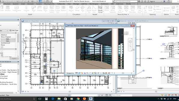 Efficient facility management can be obtained through an intelligent BIM model. PMC can provide multiple detail levels in Revit models. Shown here is a medium detail view of a 2D floor plan, a 2D sheet showing structural measurements, and a 3D model of the facility.
