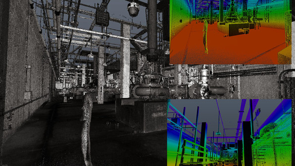 PMC works with large AEC companies who contract their work to us. Shown here is an example of a complex piping system that was laser scanned and modeled using point cloud data. Laser scanning collects every bit of detail in an area making it easier to view versus a 2D drawing of the same area.