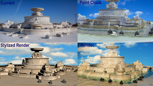 Create accurate 3D models using laser scanning to generate a point cloud. Render full graphic images from mesh to animations directly from the point cloud data.  Shown here are examples of the different types of rendering that can be created from the scan data
