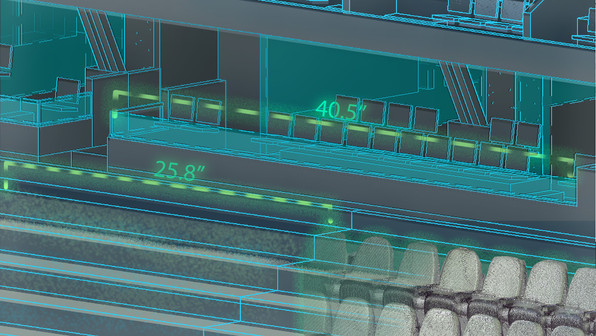 """Accurate geometry (within an 1/8"""" inch) is embedded within the point cloud data collected from laser scanning. This data crucial in creating an intelligent model of your facility. Traditional measurements take more time, cost more money, and are susceptible to human error. Having a more accurate digital twin leads to faster turnover times, cost reduction, and fully 3D model of your facility instead of just a 2D drawing that traditional measurements yield.  Shown here is an example of a Revit model overlaid with a point cloud of the renovations that are going to be added to the facility."""