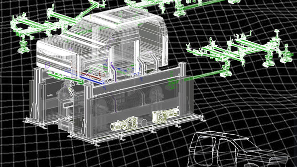 PMC can deliver 3D CAD models from 2D CAD drawings. Shown here is an 3D model created from factory CAD software of an automotive facility. Factory CAD isn't the only software PMC has experience with, we also have expertise is AutoCAD, Revit, Inventor, ReCap, Navisworks, etc.