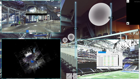 Point clouds have a unique feature that allows you to click through your facility using the grey orbs highlighted in the picture shown here. This allows you to take a virtual walkthrough digitally without having to be on-site. Within the point cloud, measurements can be taken to determine distances between key locations or height values for proper clearance or additions to the facility.