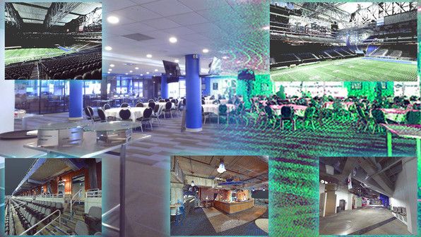 A color scan can be used for more than just measurements, including new design validation and advertising/marketing. Shown here is several examples of colored scans that can be used to highlight different locations in your facility. Laser scanning allows you to view these locations digitally, for planning renovations or quoting vendors for events.