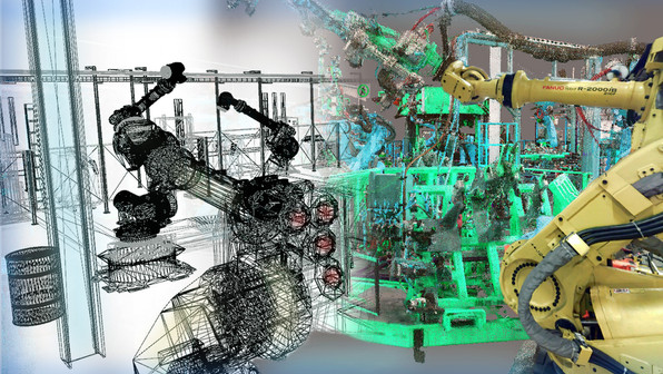 Robotic cells are becoming increasingly valuable in large manufacturing facilities. Shown here is a multi-view point cloud of a robotics cell. Placement of robotic cells is crucial given their unorthodox range of movement. Having a 3D model of a robotic cell is beneficial for retooling, additional robotic cells and expansion of assembly lines.