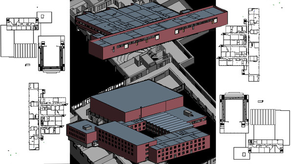 Having accurate measurements of an existing facility is vital to any construction or renovations done to it.  PMC can ensure the most accurate measurements of your facility using laser scanning and 3D modeling. Using point cloud data, we can add sq. footage to rooms, provide accurate floor plans, and identify the varied elevations of your facility. Shown here is an example of a 3D Revit model laid on top of the floor plans we created using point cloud data.