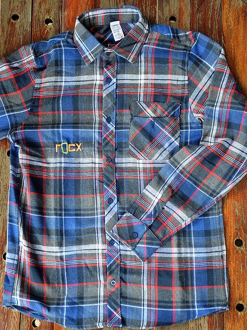 Camisa de Flanela - mescla azul