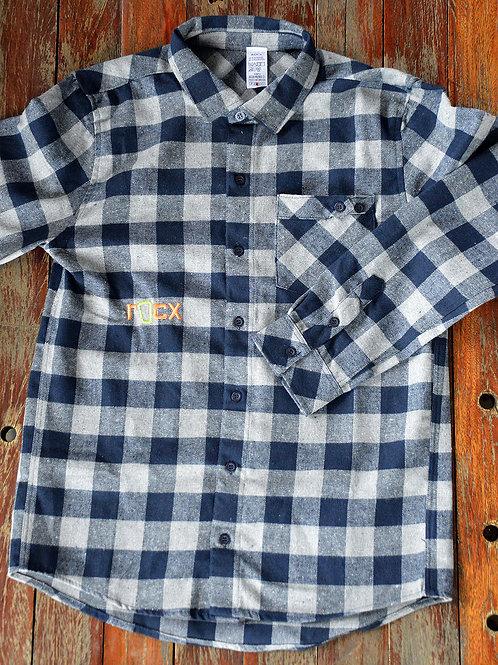 Camisa de Flanela - cinza e azul