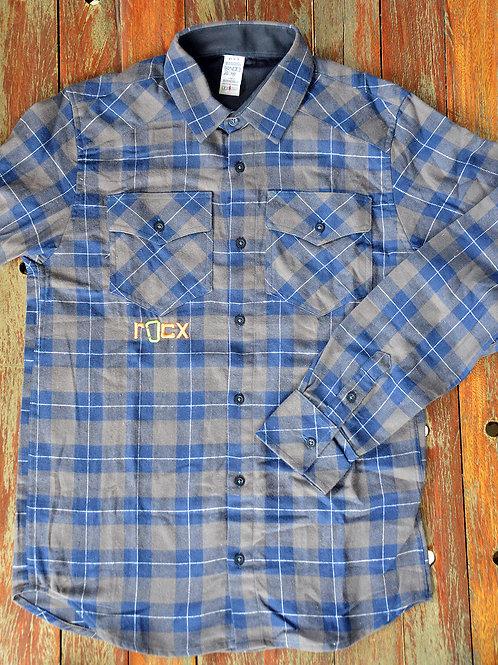 Camisa de Flanela - azul e cinza