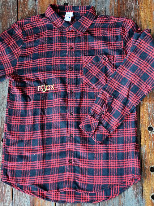 Camisa de Flanela - preta e vermelha