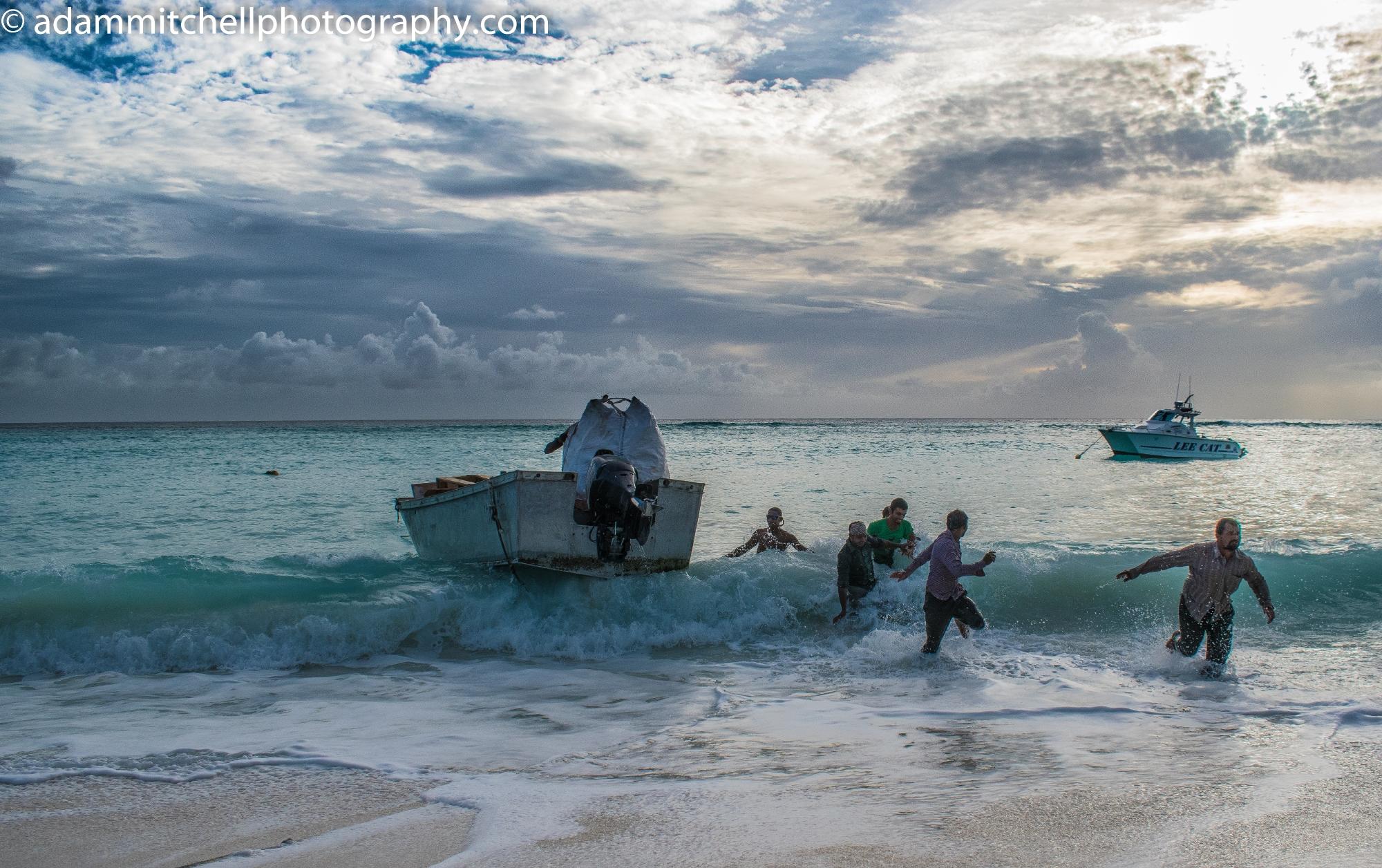 loading the boat, Aldabra