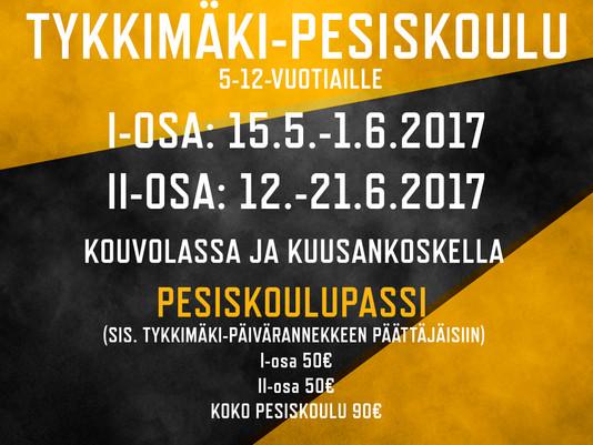 Tykkimäki-Pesiskoulu alkaa jo 15.5. – Tykkimäki-ranneke sisältyy 50€ hintaan!