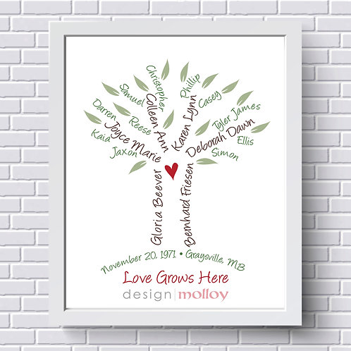 """Typed Names Family Tree Design, 8x10"""" or 8.5x11"""""""