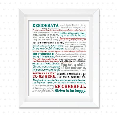 "Desiderata Print, 8x10"" or 8.5x11"""