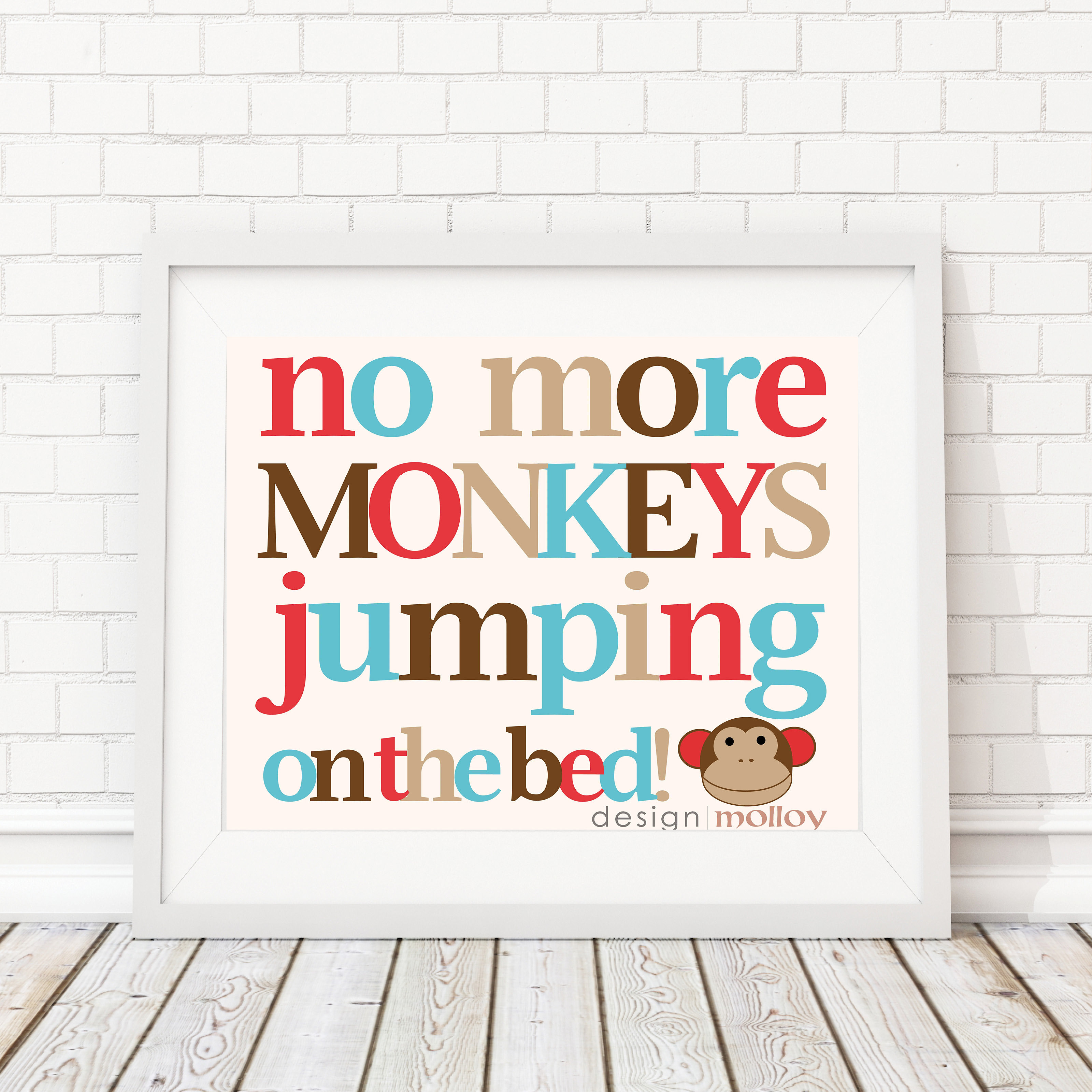 Design molloy word art prints canada no more monkeys print nursery decor no more monkeys jumping on the bed this playful monkey wall art is fun to hang in your childs nursery bedroom or playroom amipublicfo Image collections