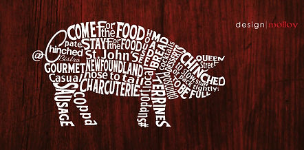 A word art logo created for a bistro in the shape of a pig.