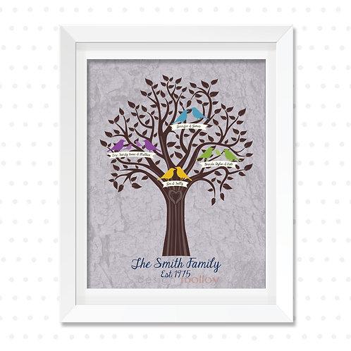 "Birds Family Tree Design, 8x10"" or 8.5x11"" Print"