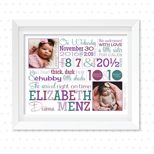 "Birth Story Word Art, 8x10"" or 8.5x11"""