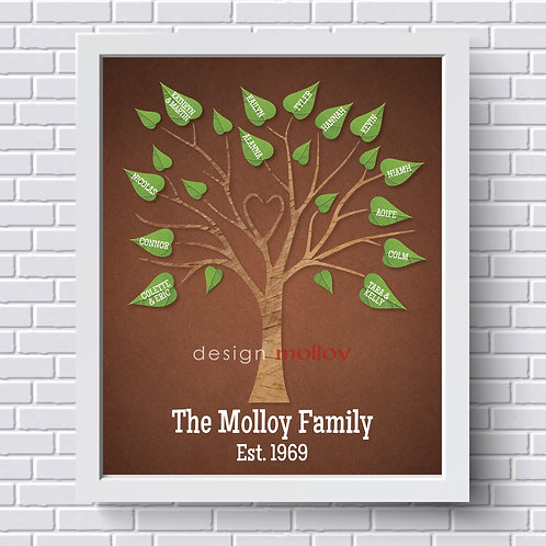 "Heart Family Tree Design, 8x10"" or 8.5x11"""