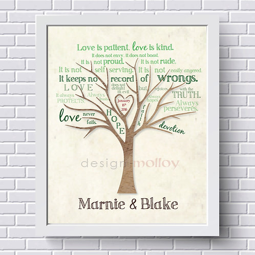 """Love is Patient Tree Print 8x10"""" or 8.5x11"""""""