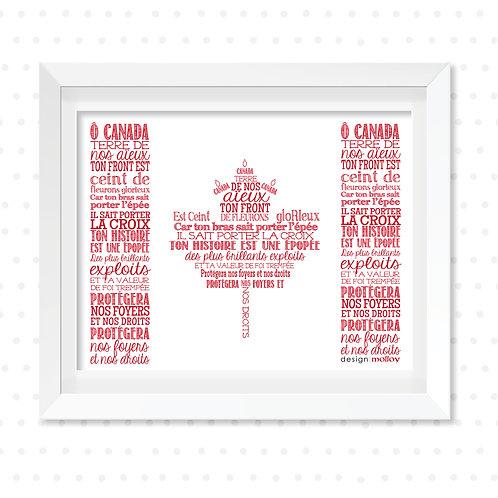 """O Canada Word Art Flag (French), 8x10"""" or 8.5x11"""""""