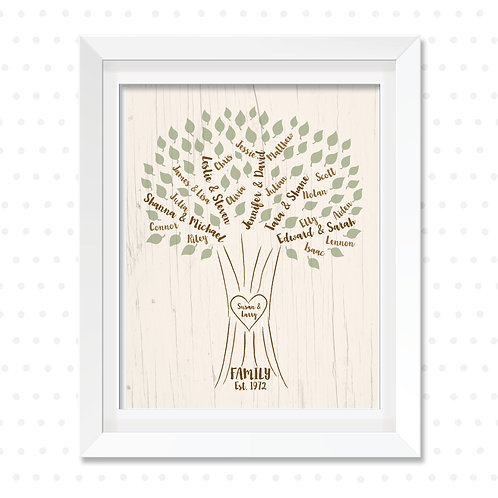 "Brush Family Tree Typed Names Design, 8x10"" or 8.5x11"""
