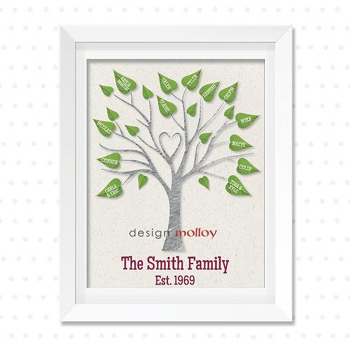 "Heart Family Tree Design, 8x10"" or 8.5x11"""