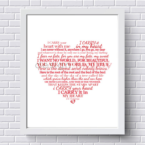 i carry your heart with me Print, 8x10\