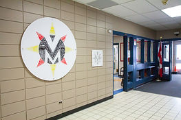 Picture of word art logo displayed in high school