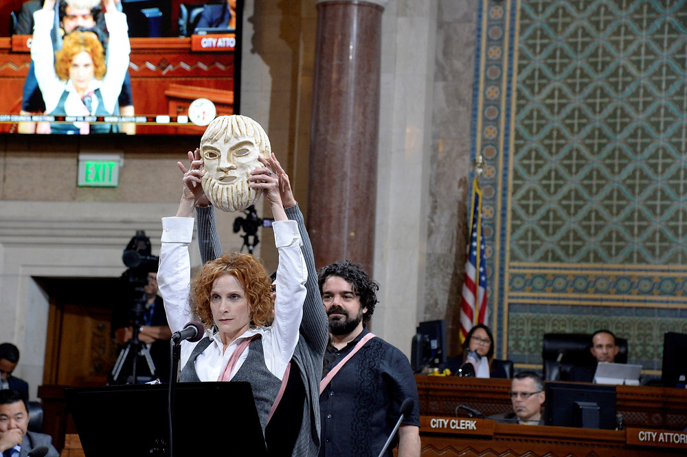 exagoge at Los Angeles City Hall.