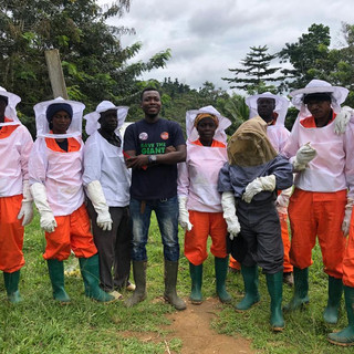 Beekeeping sub-group leaders with traine