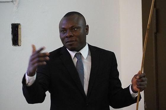 Gilbert Adum delivering a presentation o