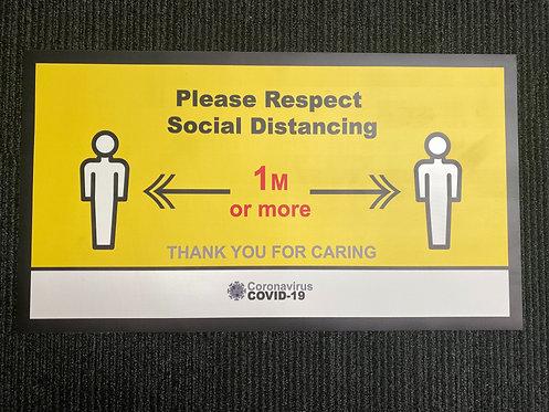 Covid-19 Social Distancing Vinyl Door Mat 1m+