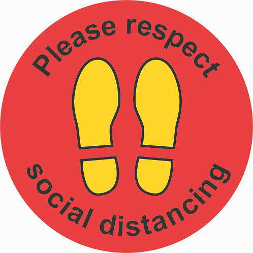Covid-19 Social Distancing Floor Stickers 300mm