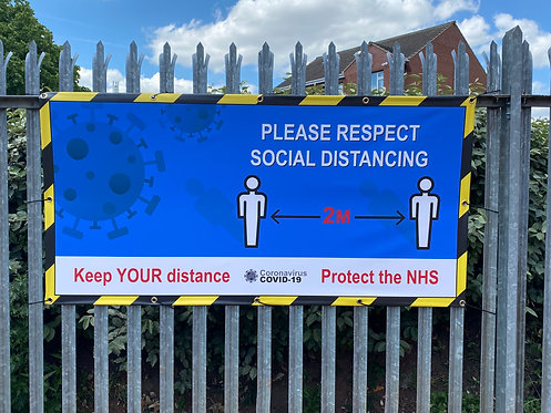 Covid-19 Respect Social Distancing PVC Banner