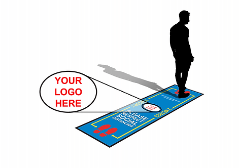 YOUR LOGO 2.5m Covid-19 Social Distancing Floor Mat