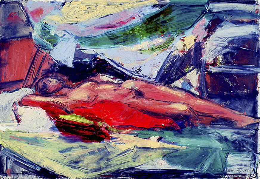 Reclining Nude, Red Pillow 1983
