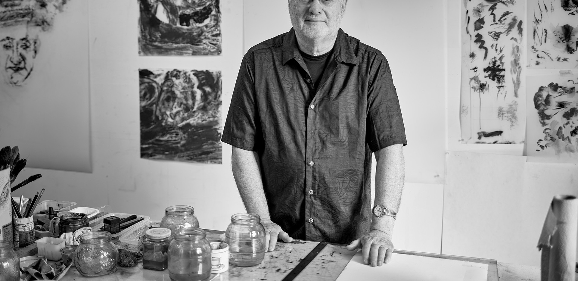 The artist at his drawing table 2017