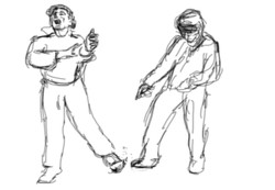 Sketches of figures for animation