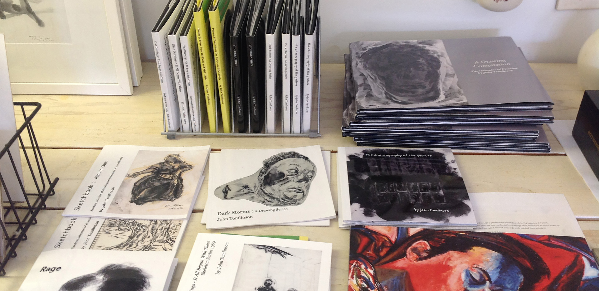 Showing space bench w. artist's books