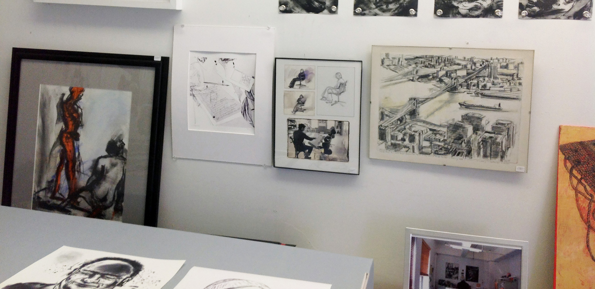 Showing space bench w. drawings