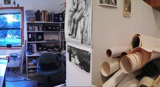 Studio panoramic view with artist 2014