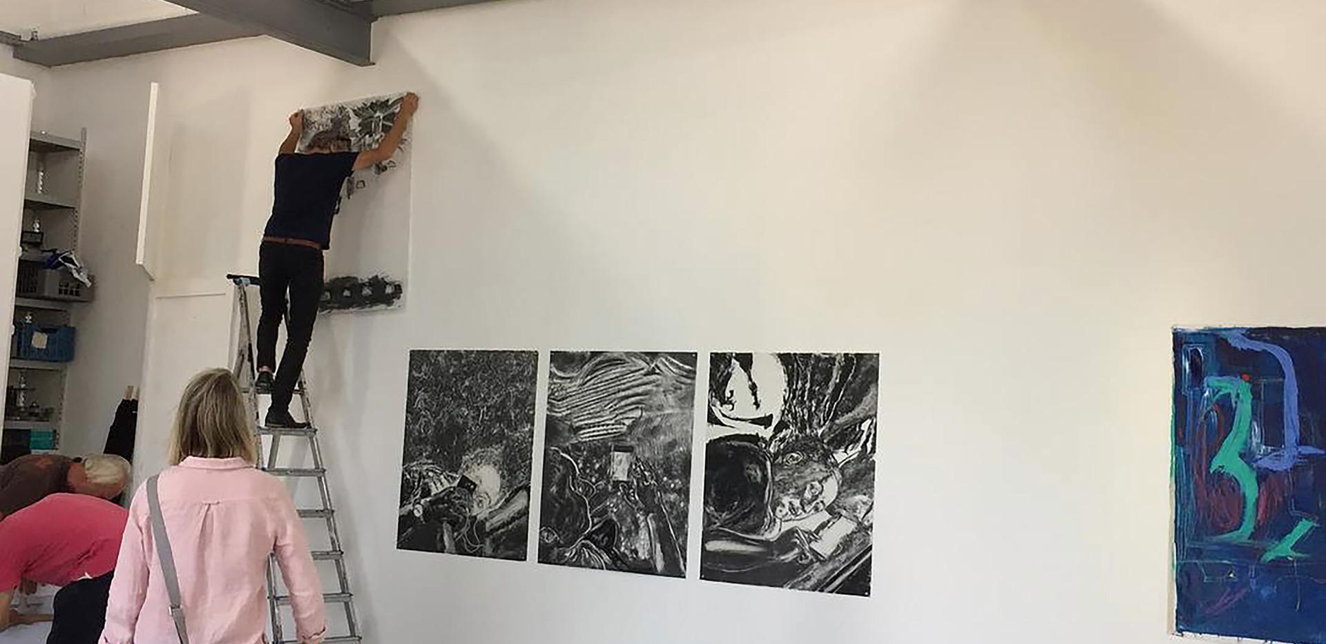 Biek van Bree installing John Tomlinson's work