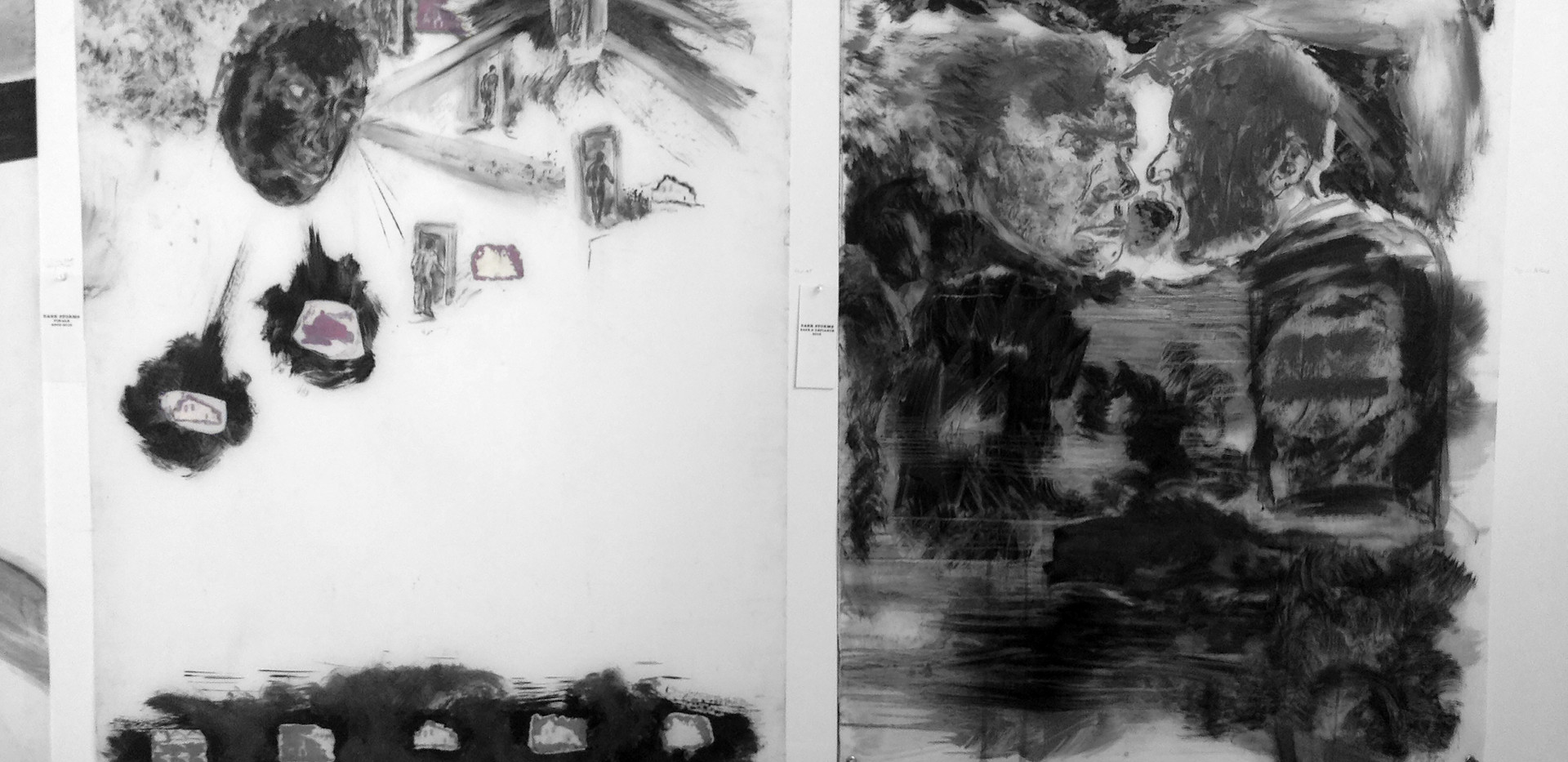 Showing space w. 2 large graphite drawings