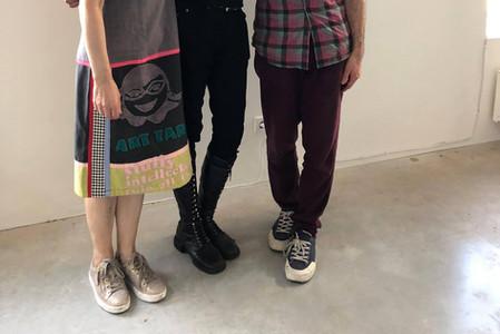 Curator Elise Tak with artist Bishakh Som & her brother Tobias Tak