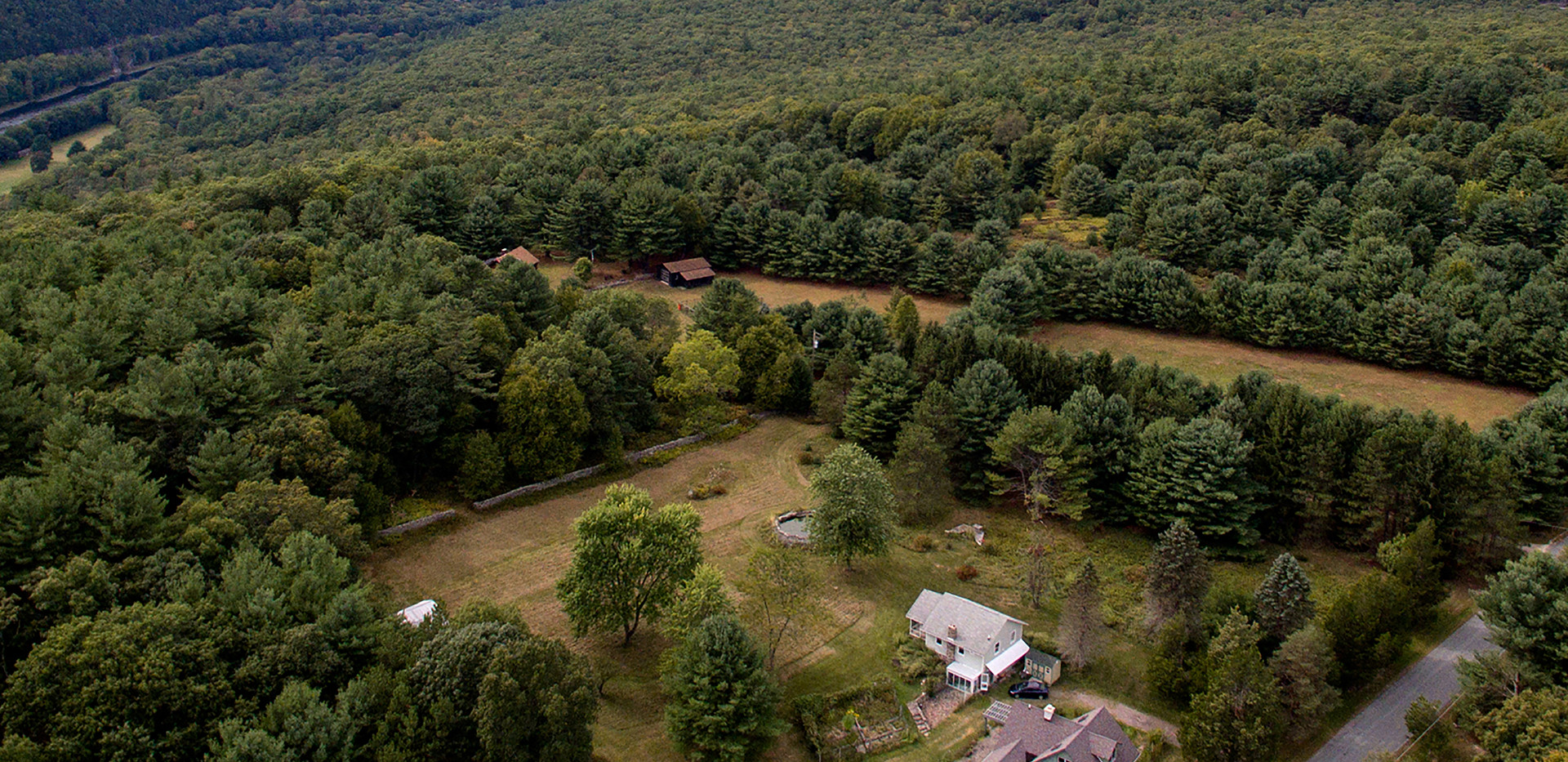 Aerial drone view looking west towards Pennsylvania