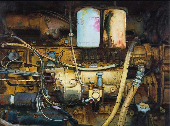 Claude Delamarre - Moteur jaune  - 80x100cm