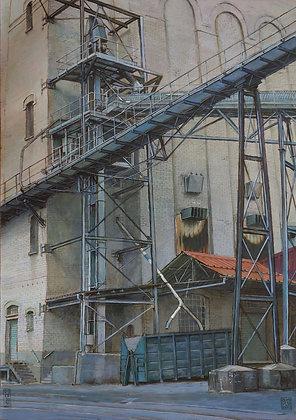 Claude Delamarre - Les malteries - 51x36cm