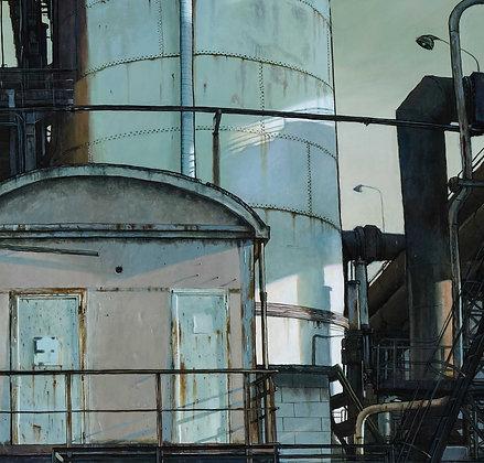 Claude Delamarre - Aciérie cheminée blanche - 74x100cm